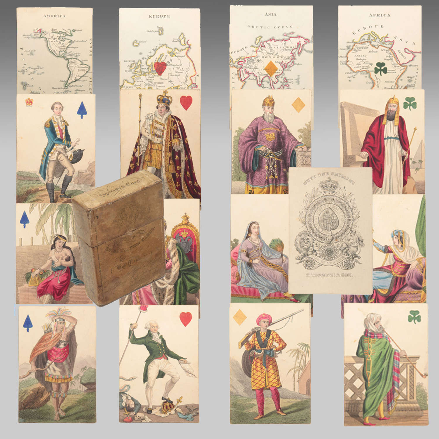 Rare 19th century Hodges Geographical playing cards