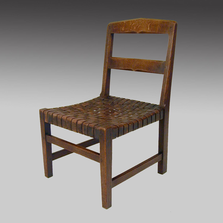 Fine Arts & Crafts oak fireside nursing chair by Stanley Webb Davies