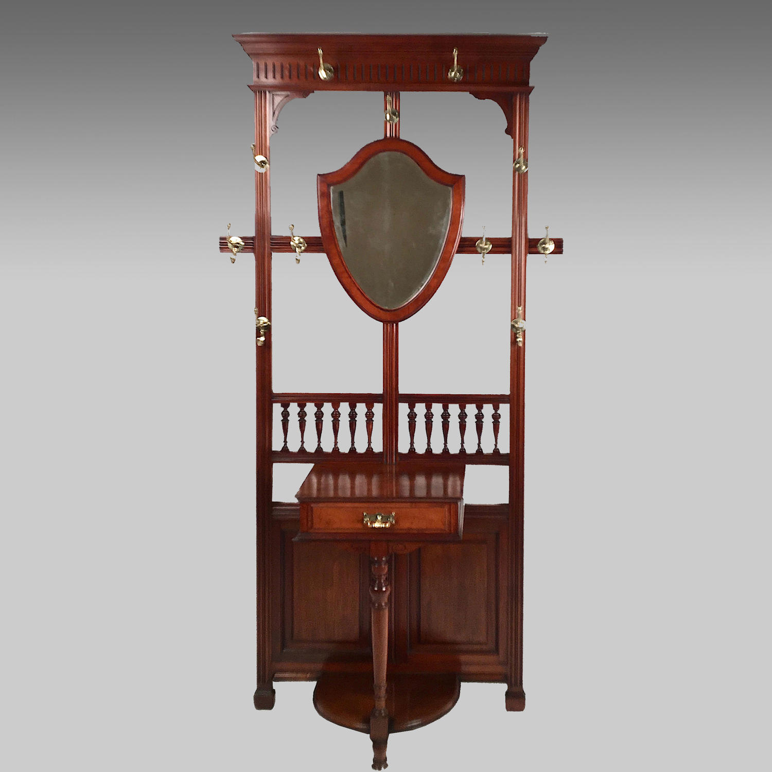 19th century walnut hall stand in the aesthetic movement style