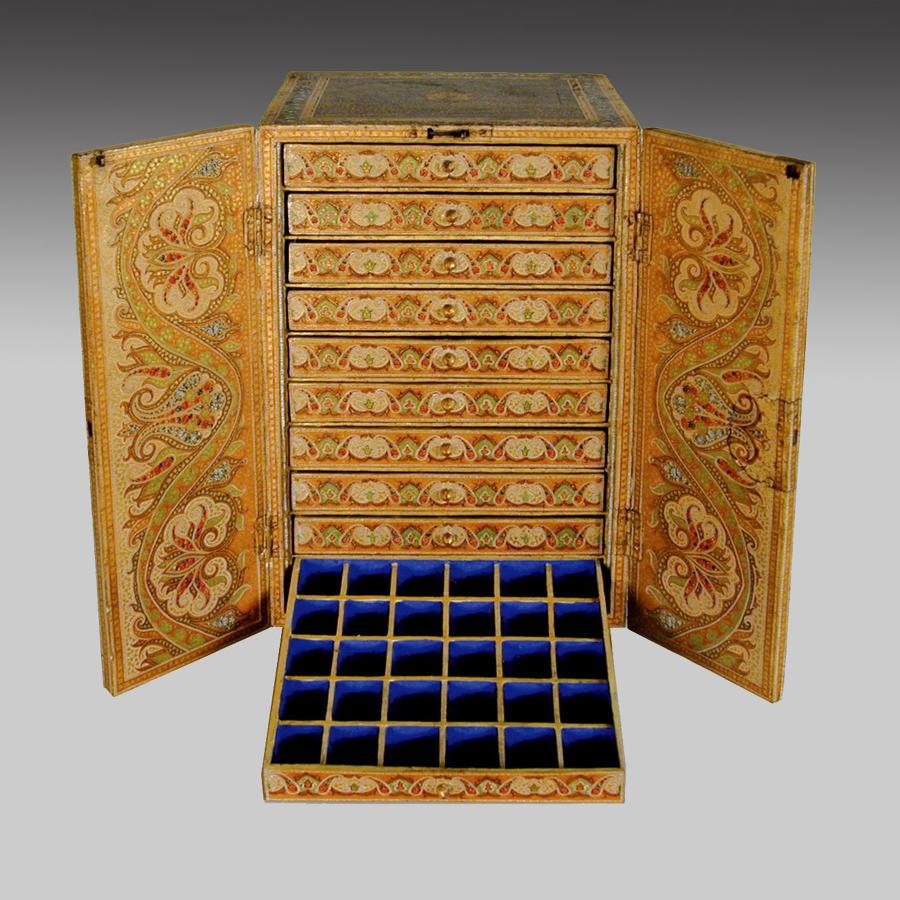 Antique Kashmiri lacquer table cabinet