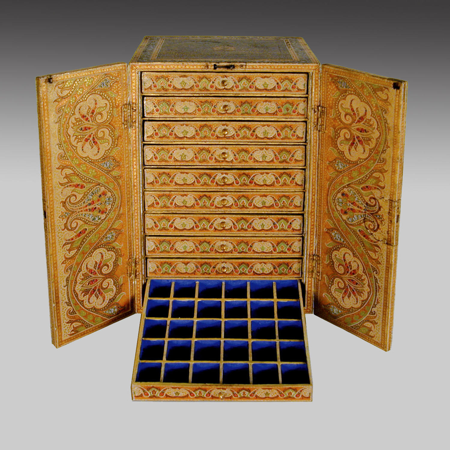 Antique Kashmiri lacquer table cabinet