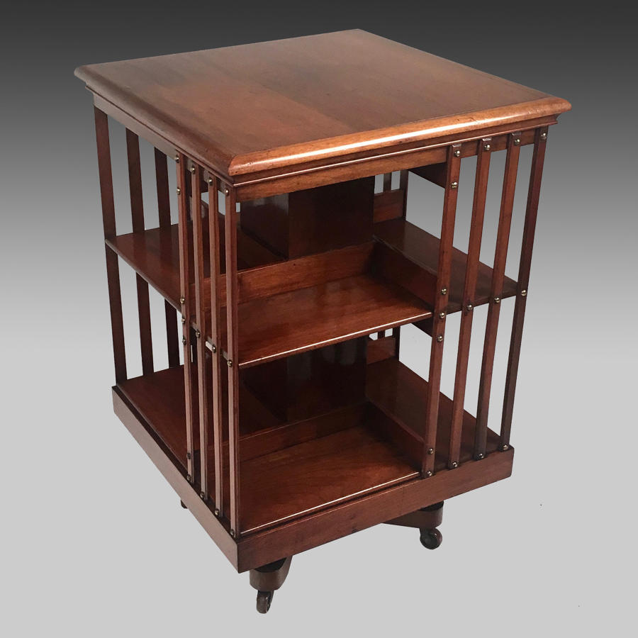 Edwardian walnut revolving bookcase