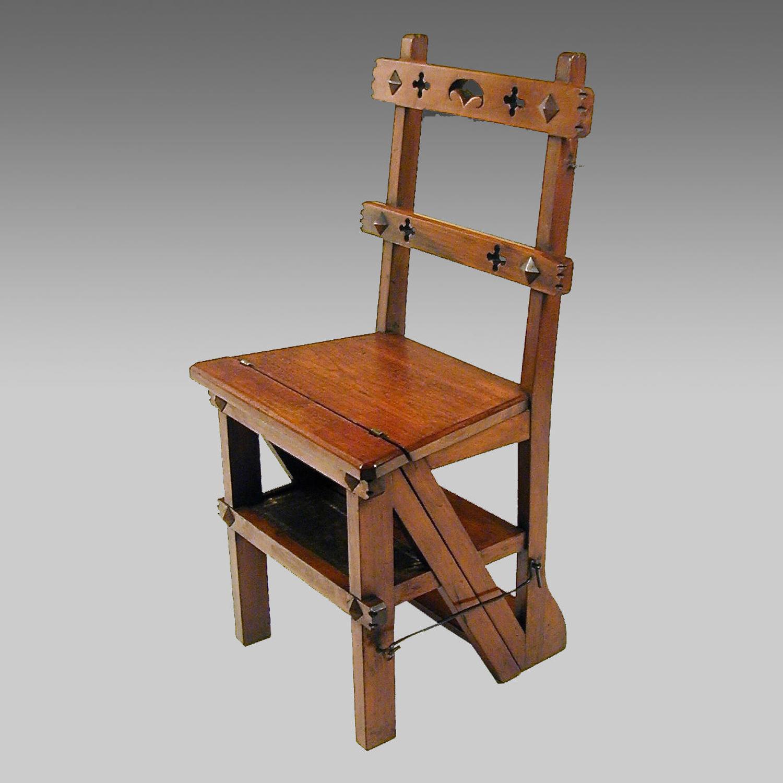 Aesthetic Movement walnut metamorphic chair-steps
