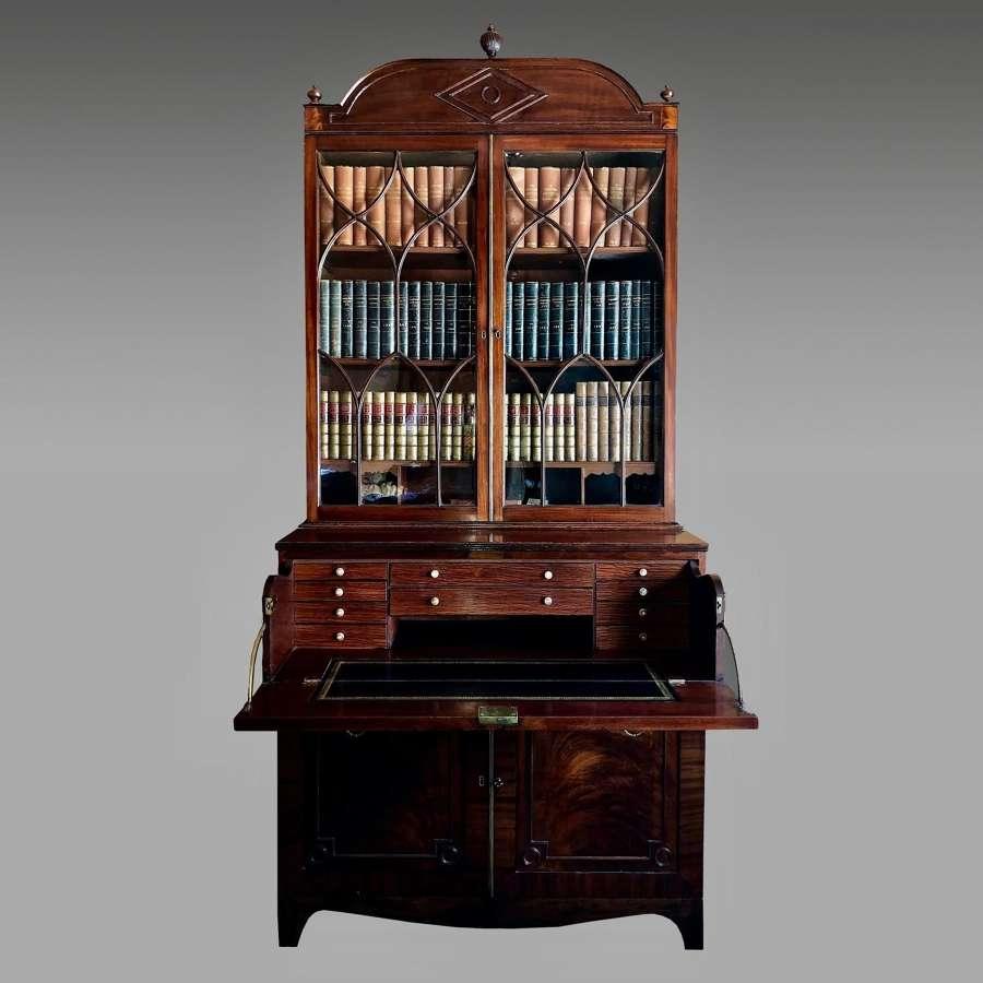 Regency mahogany secretaire bookcase