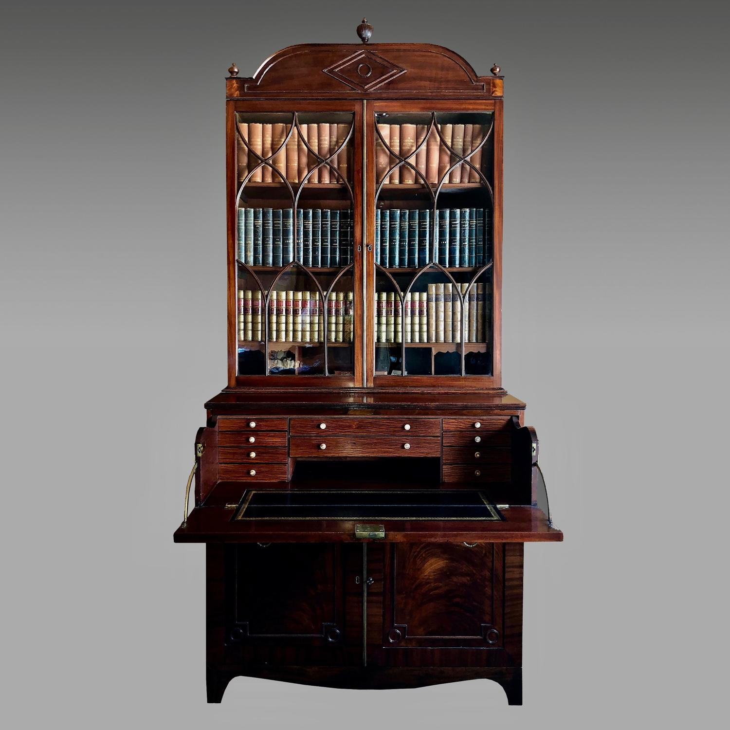 Regency mahogany secretaire bookcase