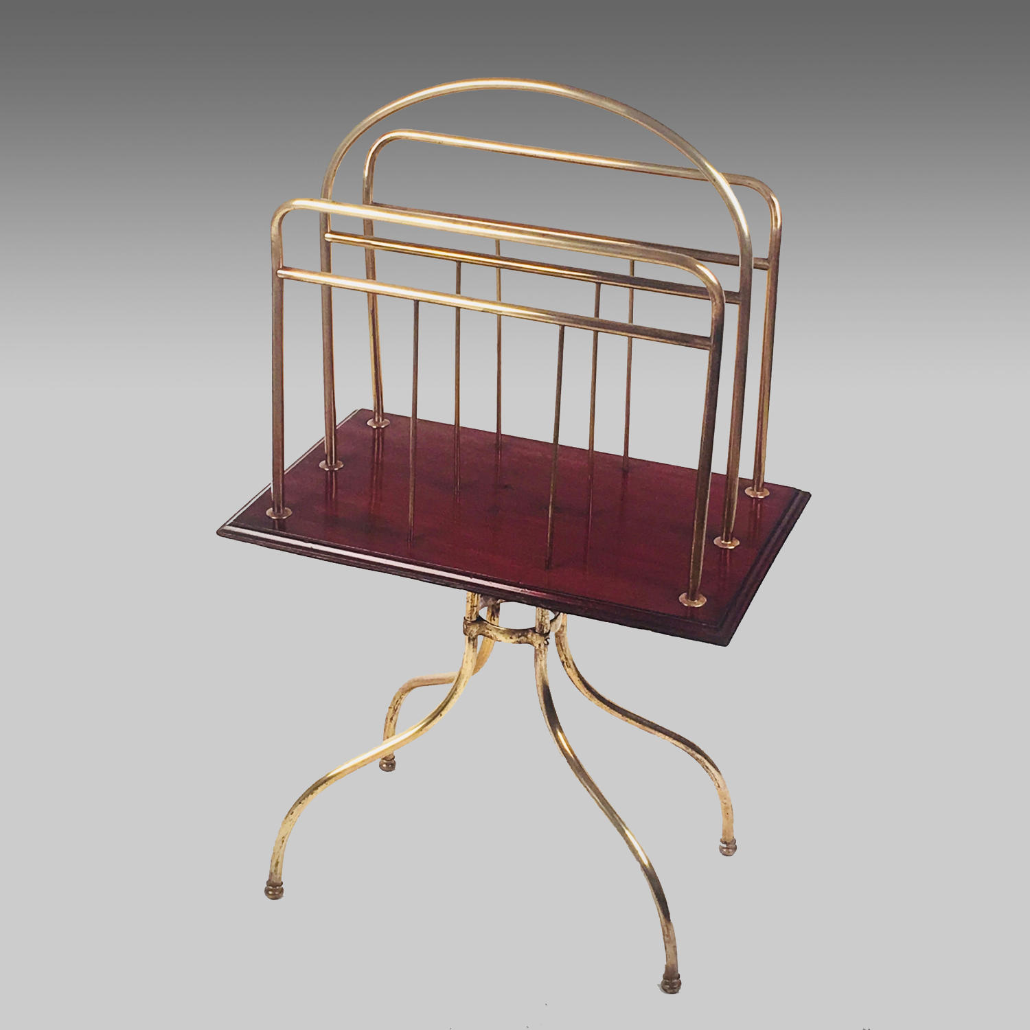 Large Victorian brass and mahogany portfolio stand