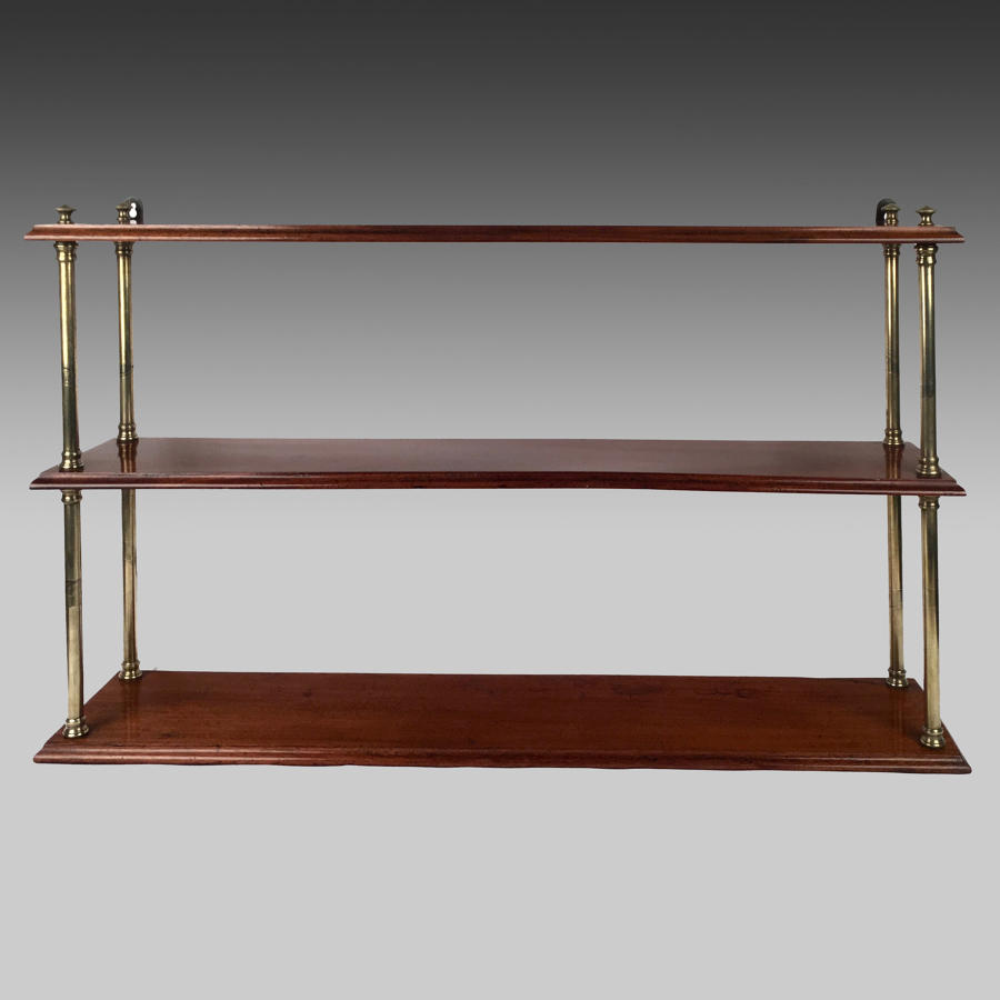 19th century mahogany campaign shelves