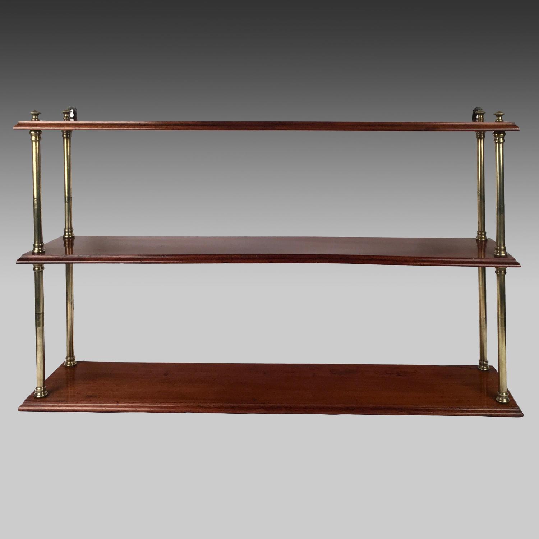 19th century mahogany campaign shelves