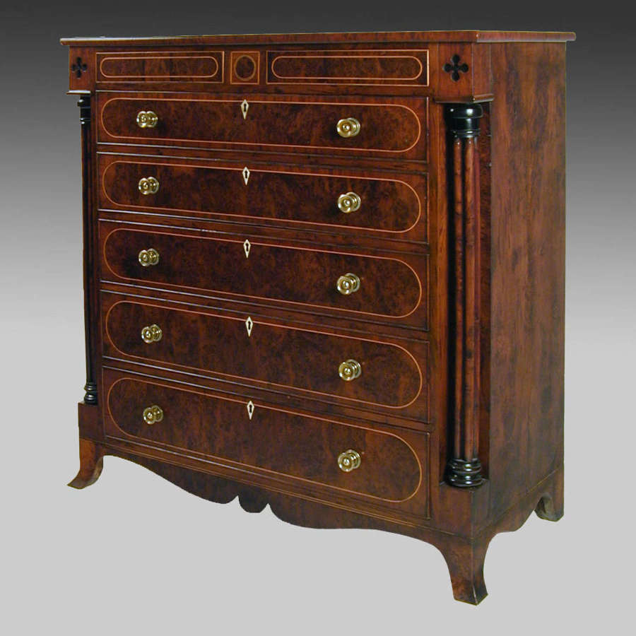 Regency yew wood secretaire