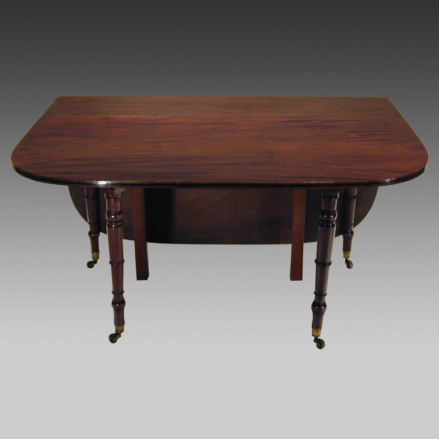 Georgian mahogany campaign drop-leaf dining table