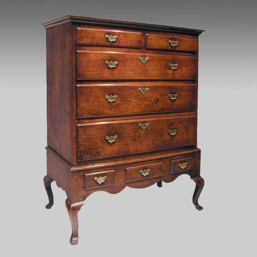 Early 18th century walnut chest on stand