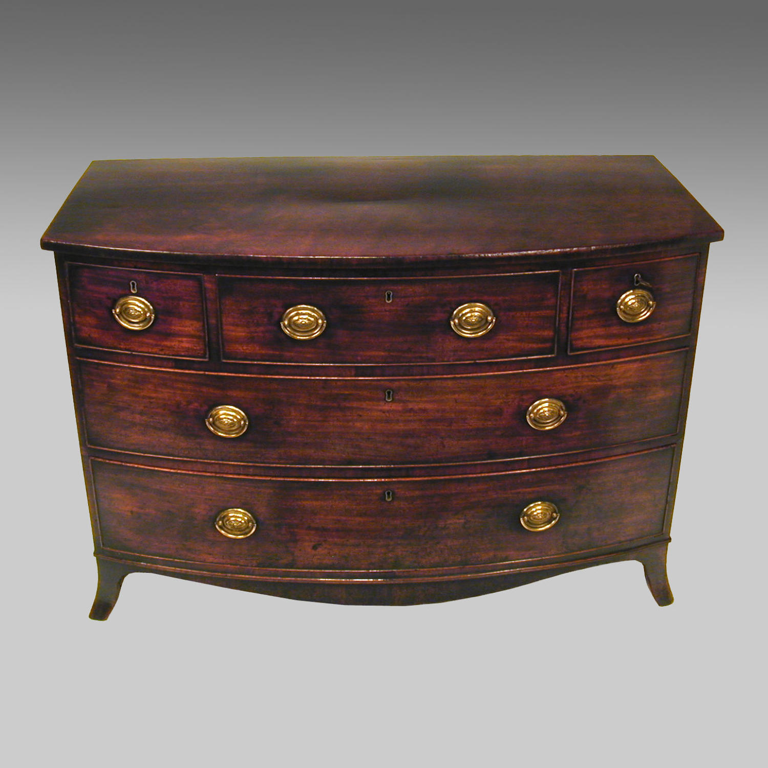 Georgian mahogany bowfront commode chest