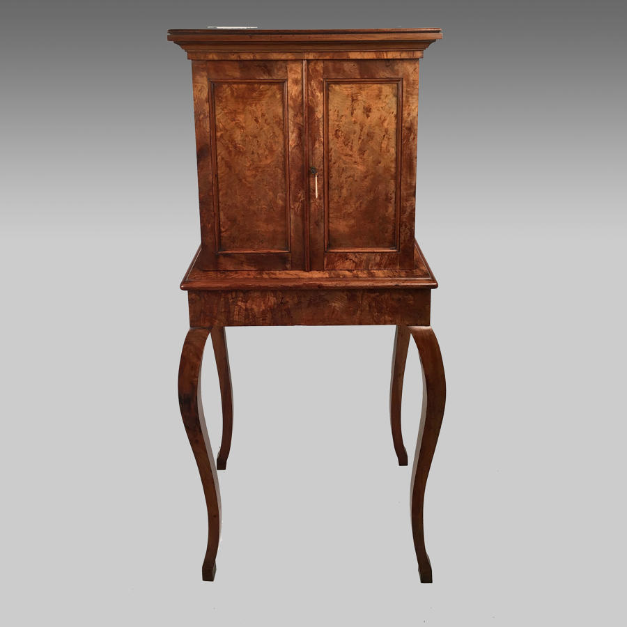 Late 19th century walnut, collector's cabinet on stand