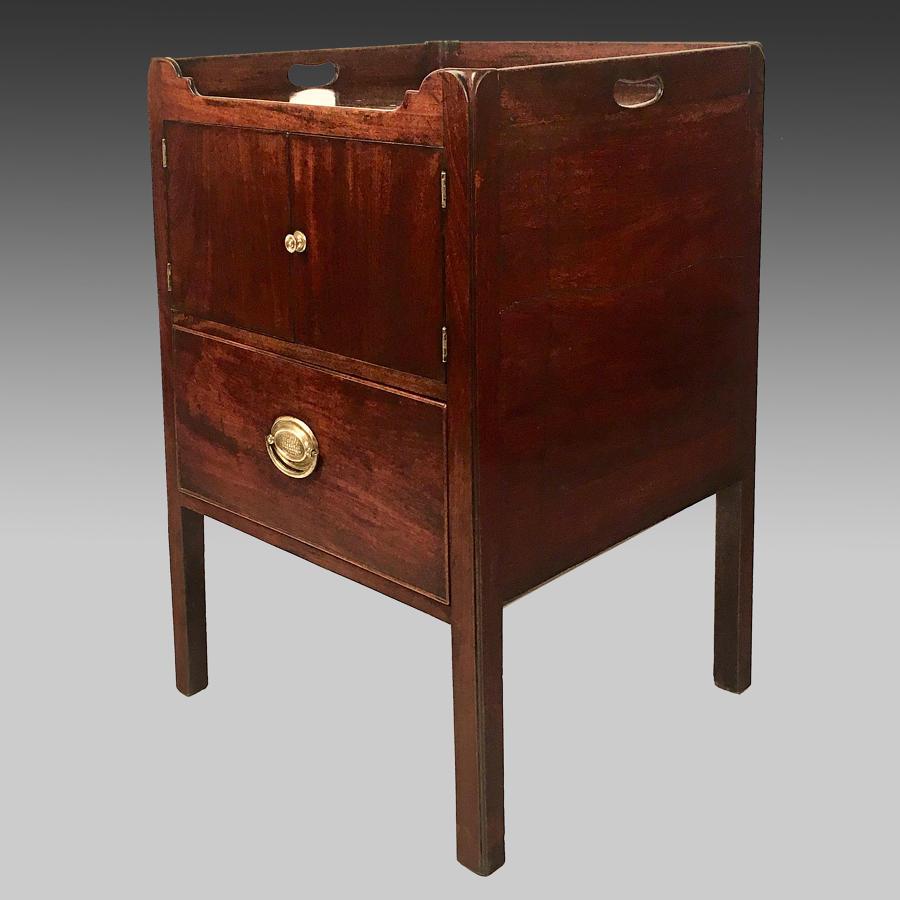 Georgian mahogany tray-top bedside cabinet