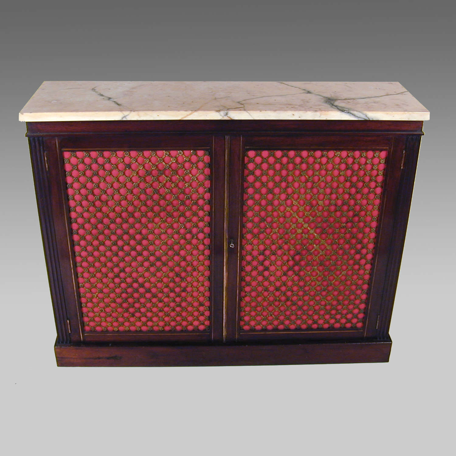 19th century dwarf mahogany cabinet with marble top