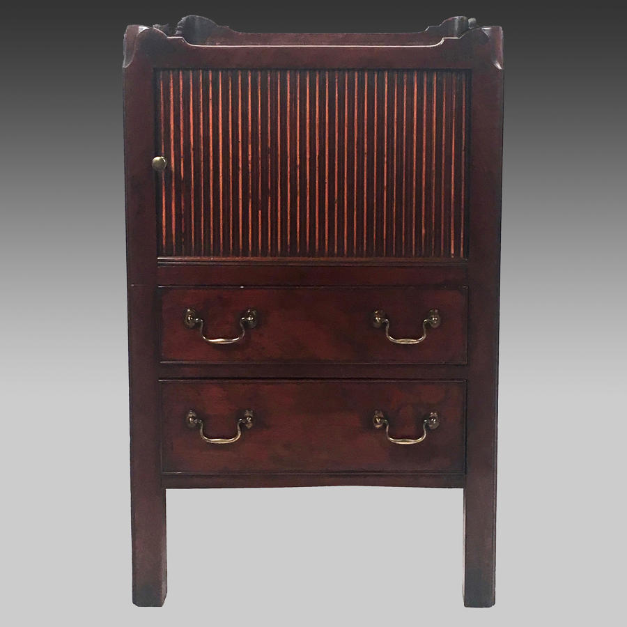 Georgian mahogany tray-top bedside cabinet