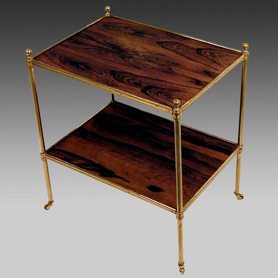 Vintage rosewood and gilt brass etagère