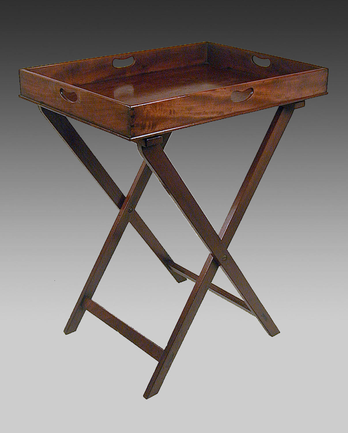 Georgian mahogany butler's tray on stand