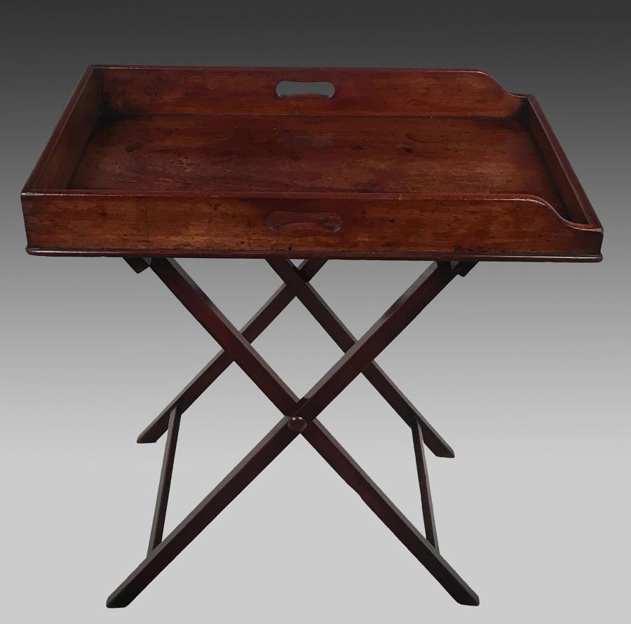 Georgian mahogany butler's tray on stand