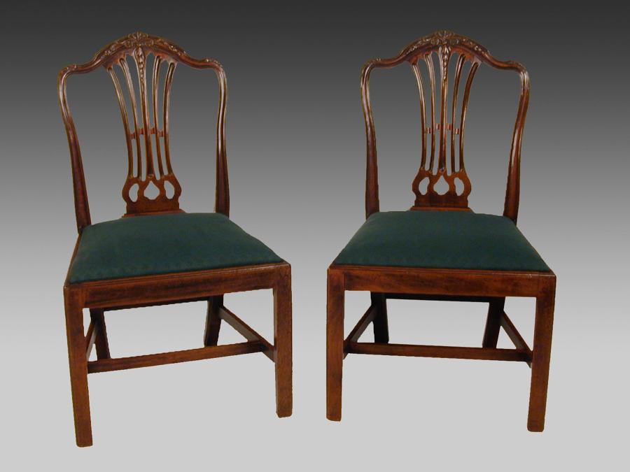 Pair late 18th century Hepplewhite mahogany chairs