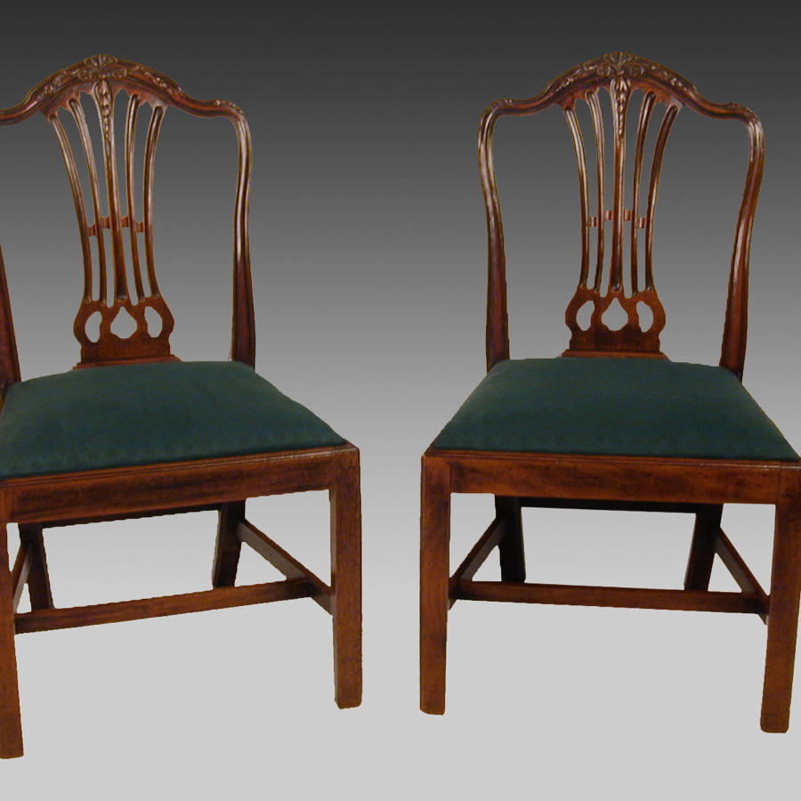 Pair late 18th century Hepplewhite mahogany chairs