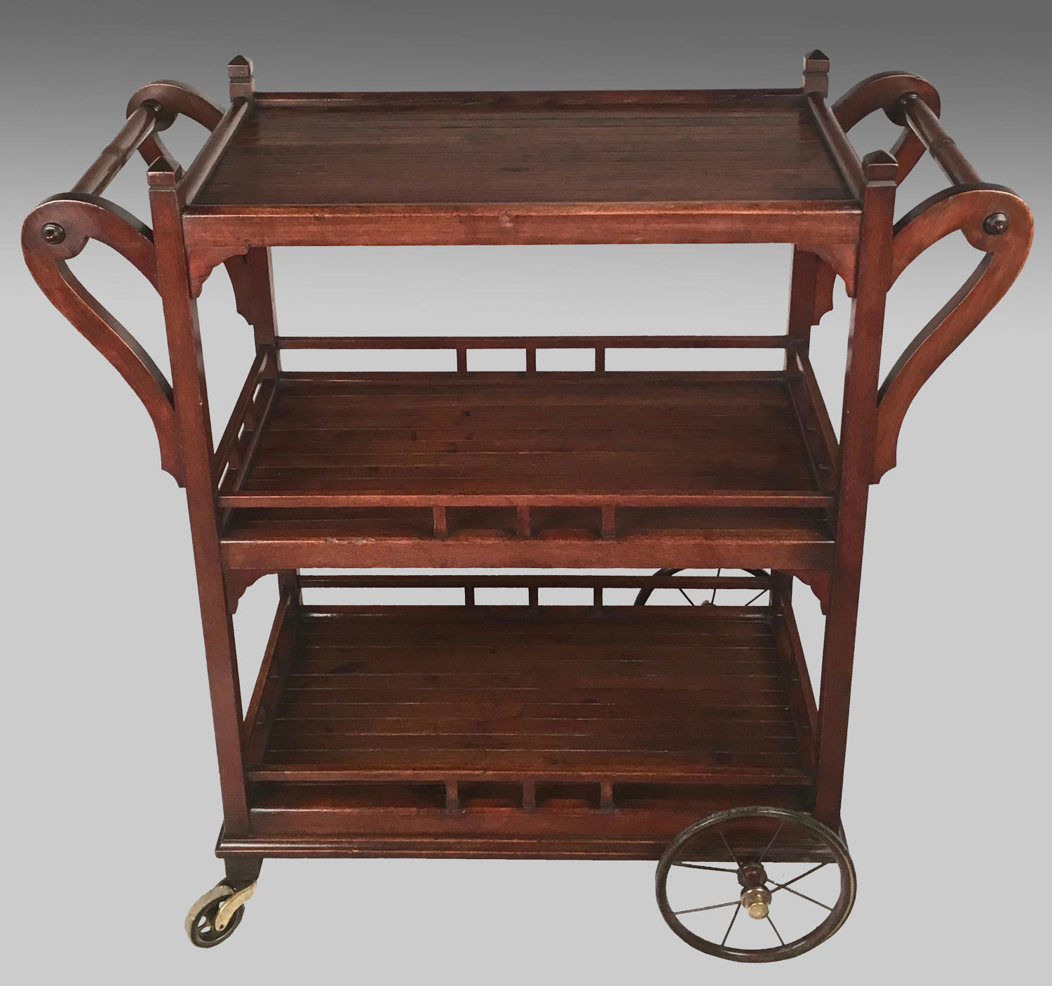 1920's ship's teak serving trolley