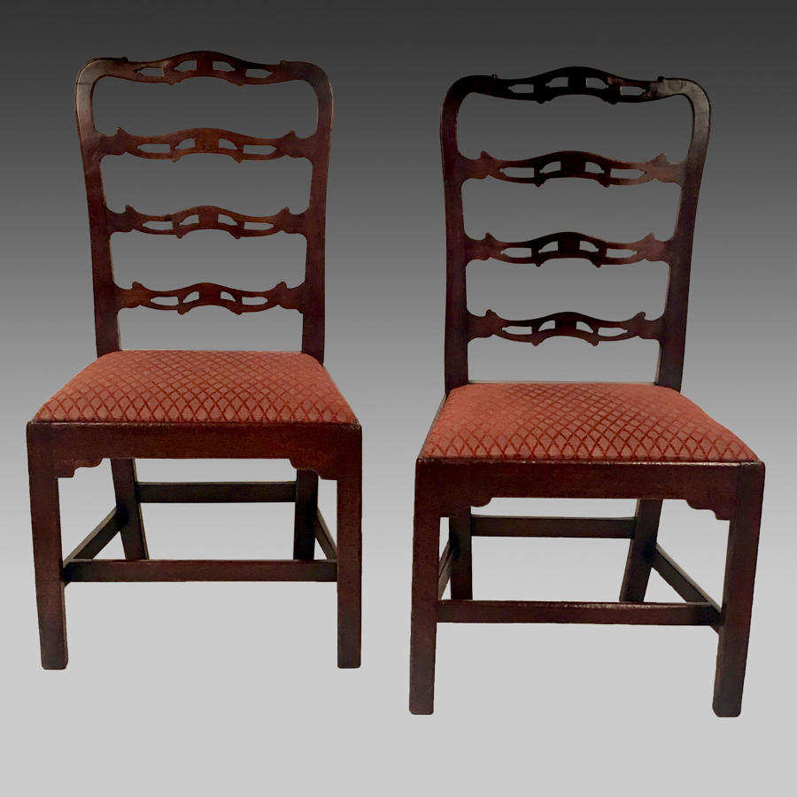 Pair Georgian walnut ladderback chairs