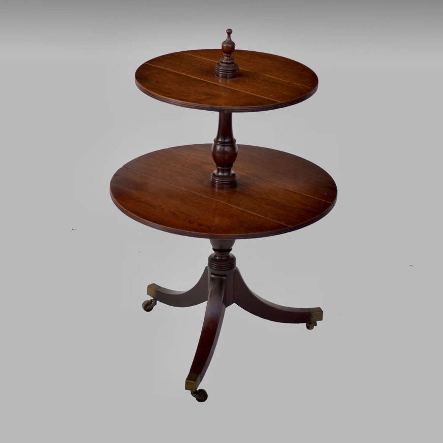 Small Georgian mahogany two tier dumb waiter