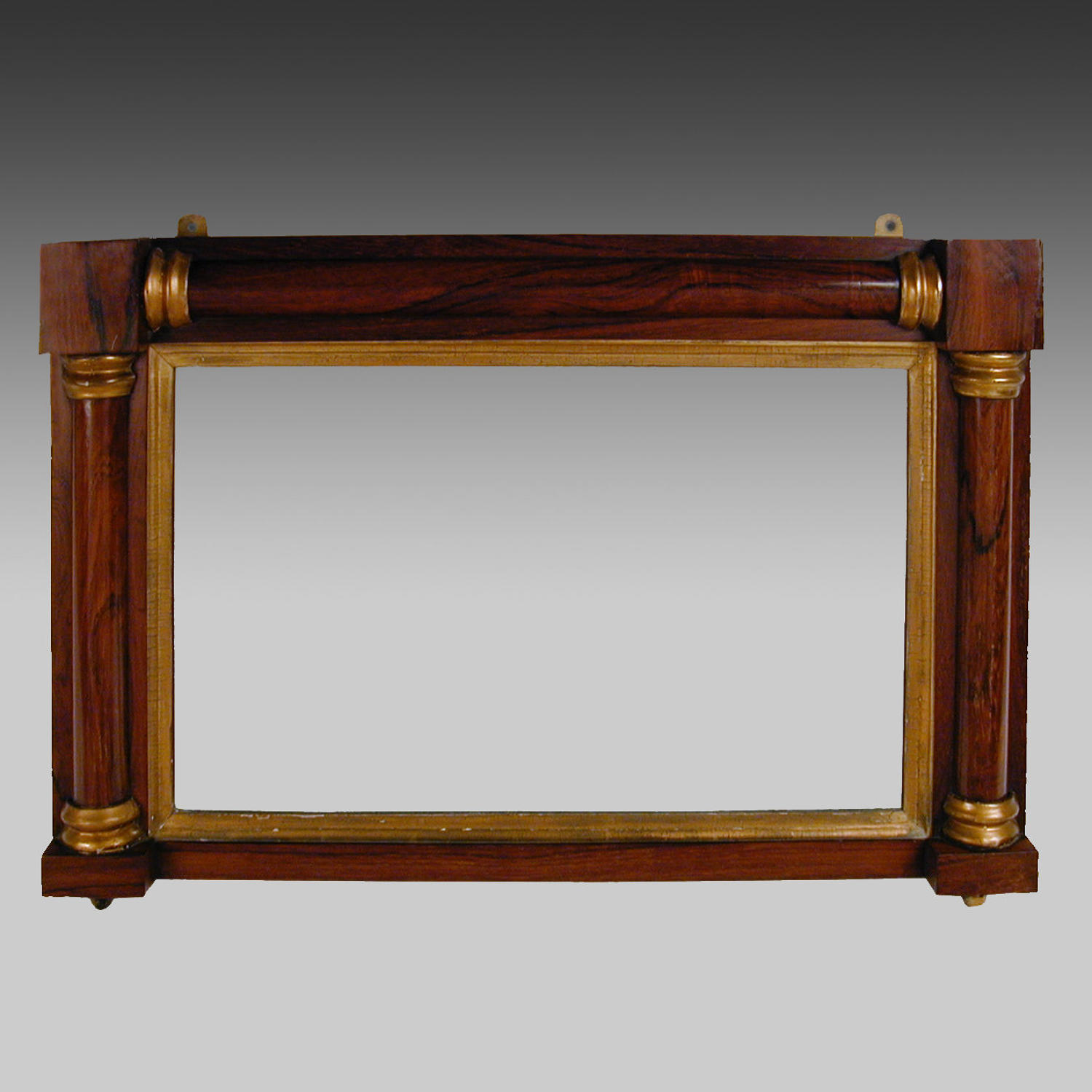 Mid 19th century rosewood overmantle mirror