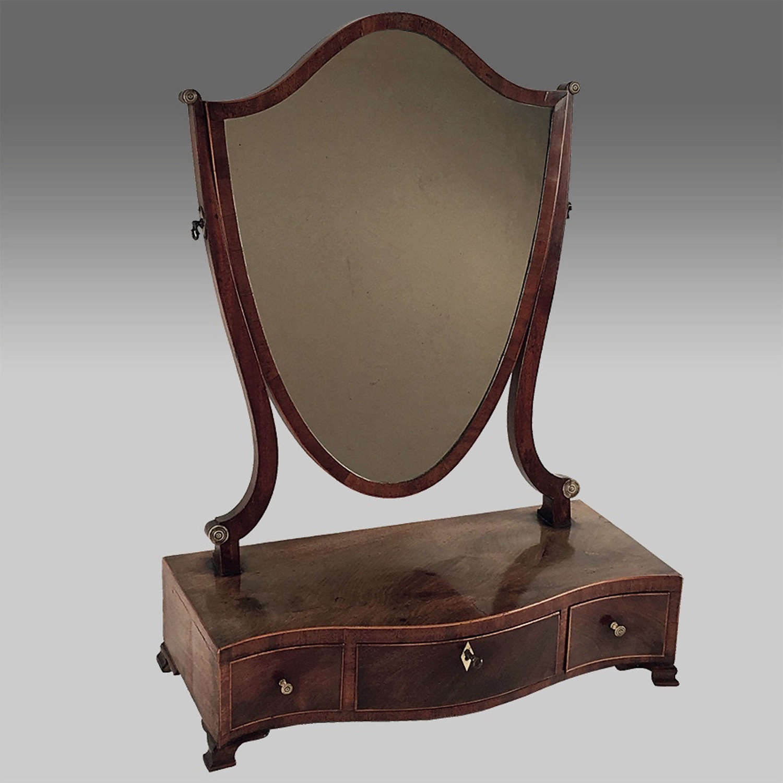 Eighteenth century Sheraton mahogany dressing mirror
