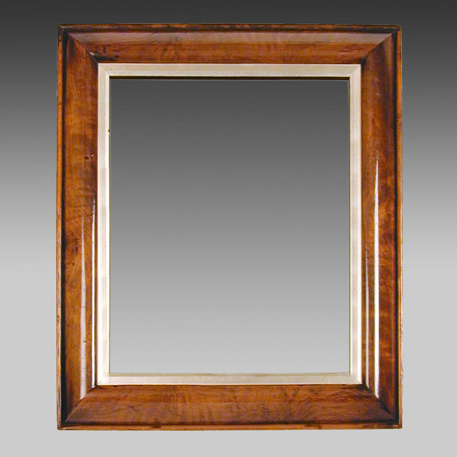 19th century walnut framed portrait mirror