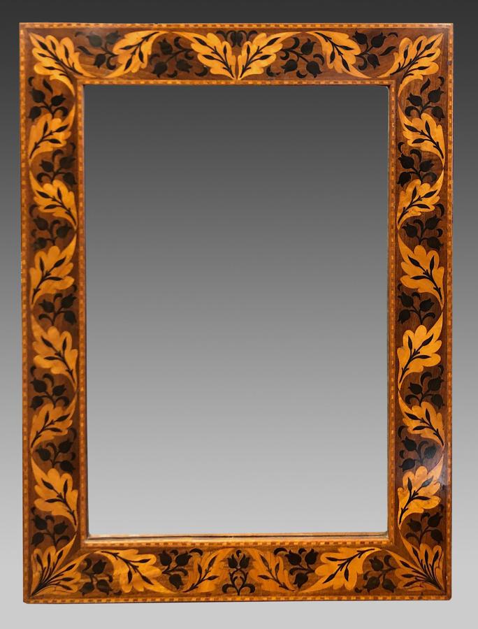 Fine 1920's marquetry inlaid framed strut mirror