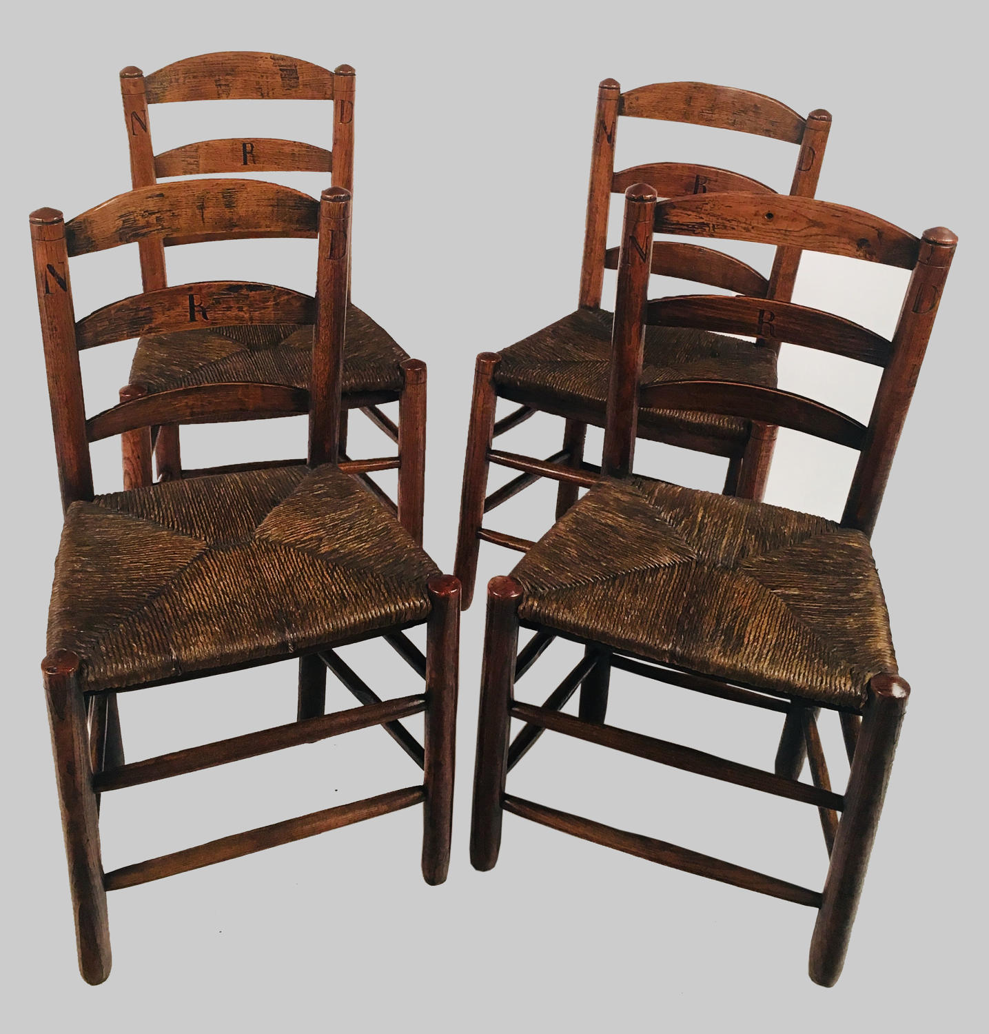 Four, small 19th century rush-seat schoolroom chairs
