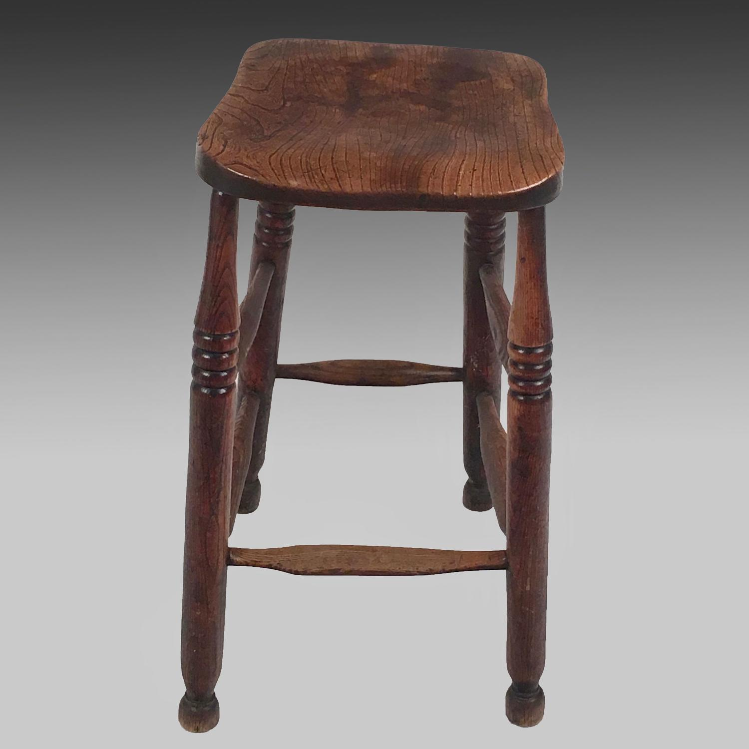 19th century ash and elm high stool