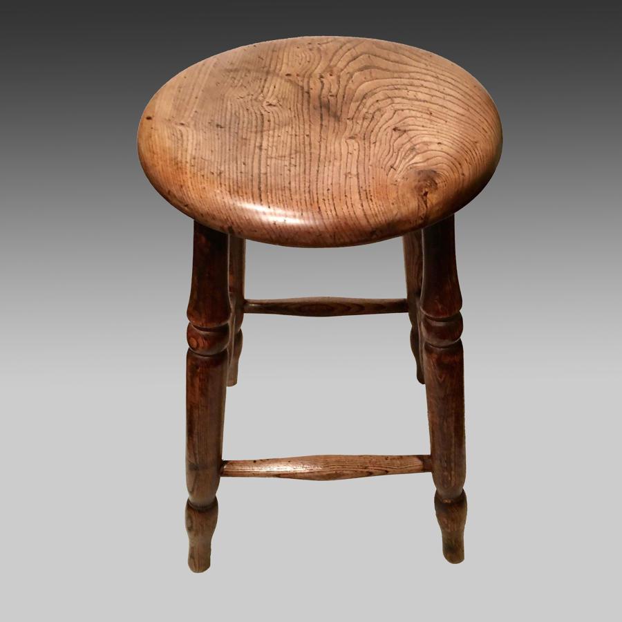 Pair of antique ash pub or tavern stools