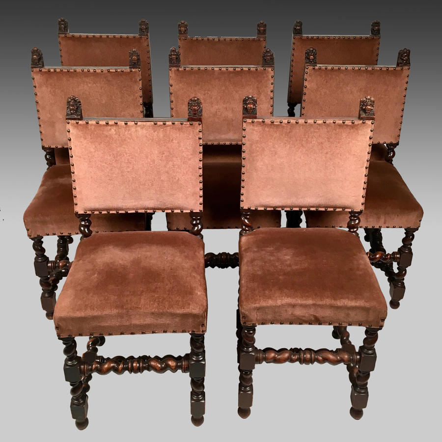 Set of eight, Louis X111 style, oak dining chairs