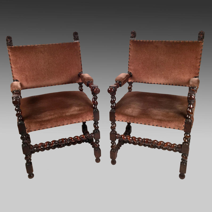 Pair Louis X111 style, oak dining armchairs