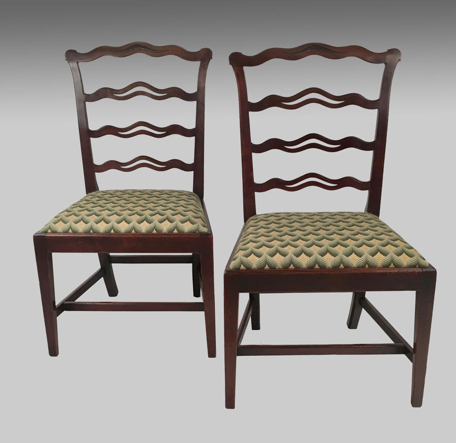 Pair Georgian mahogany ladderback chairs