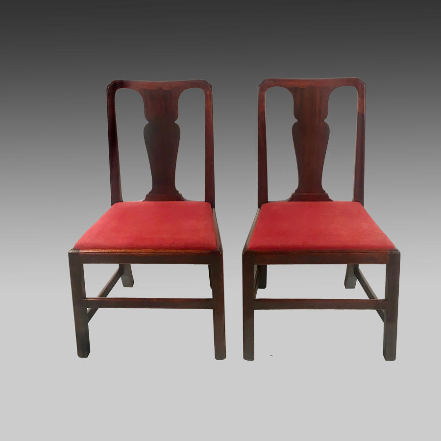 Pair George 11 walnut spoon-back chairs