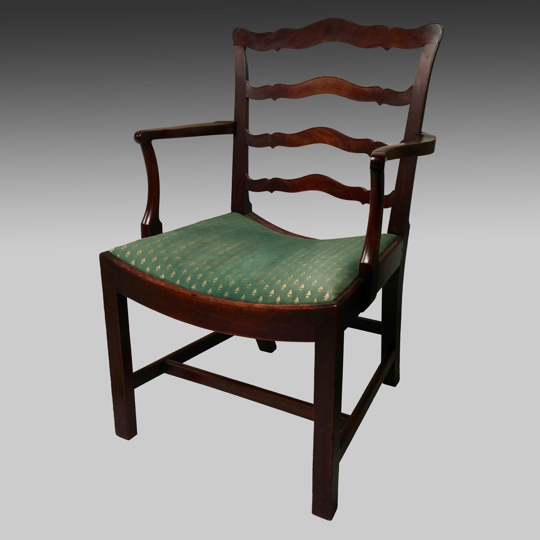 Georgian mahogany ladderback armchair