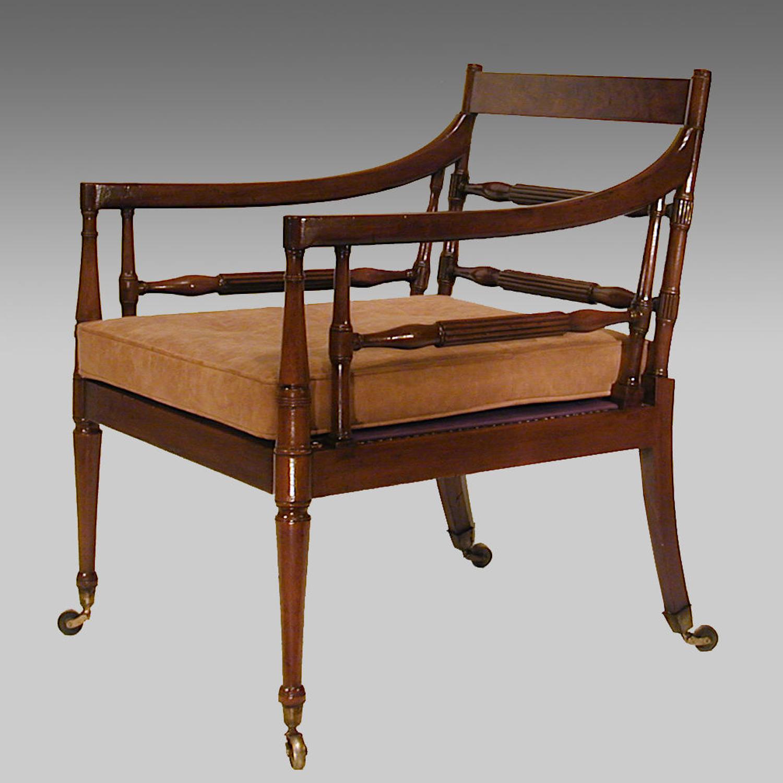Fine Georgian mahogany library armchair