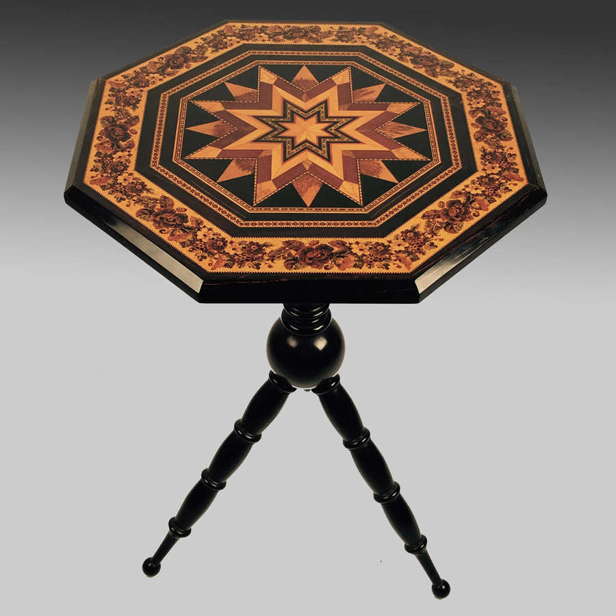 Tunbridgeware tripod table by Thomas Barton
