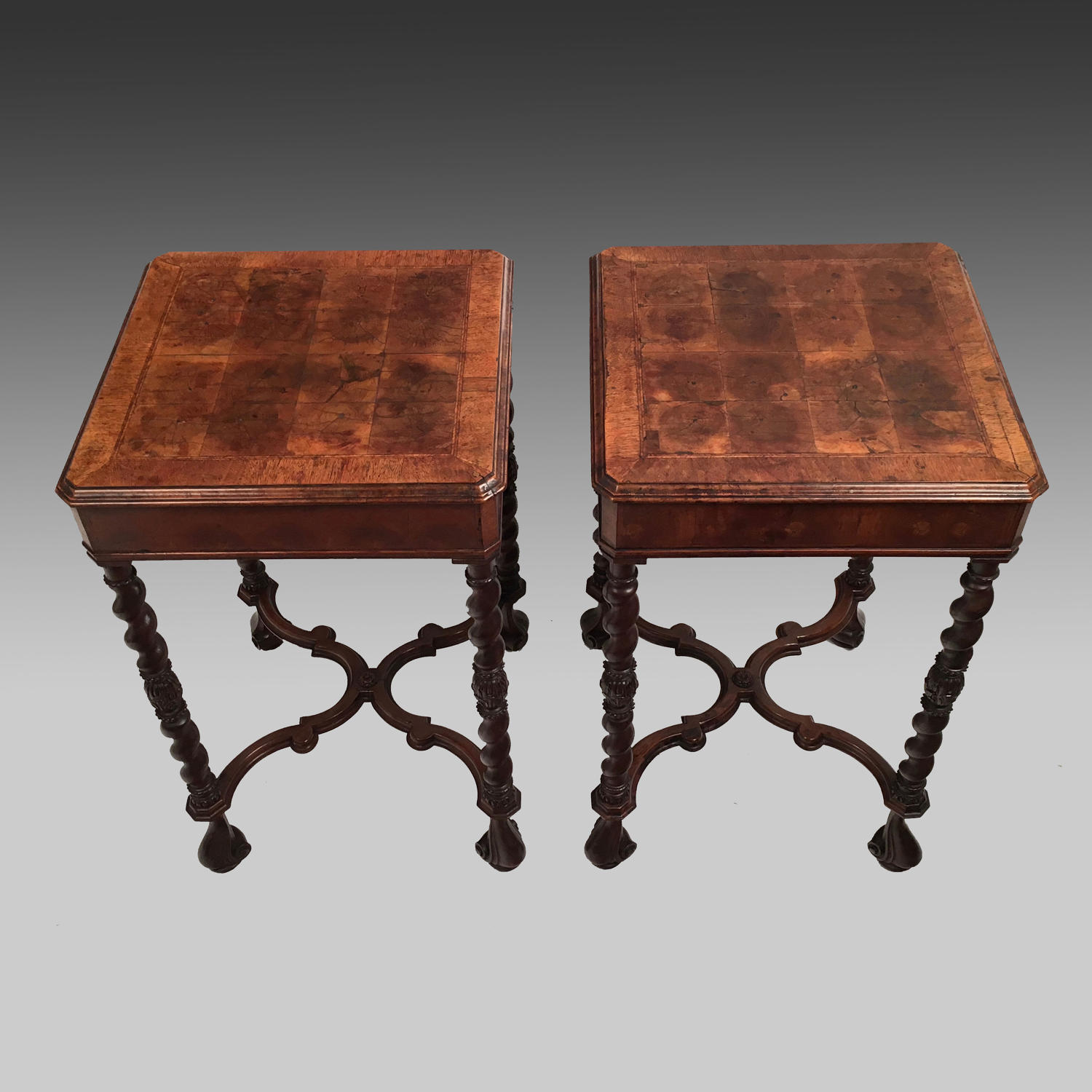Pair of walnut occasional tables