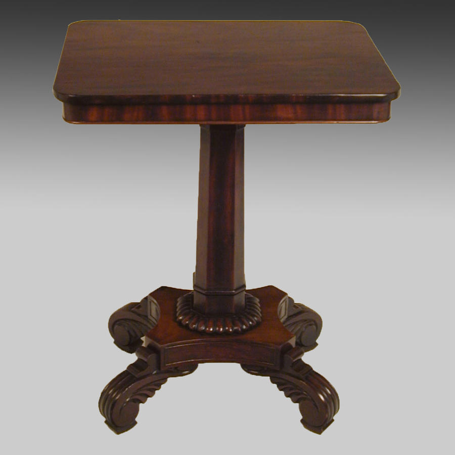 Small Regency mahogany pedestal centre table