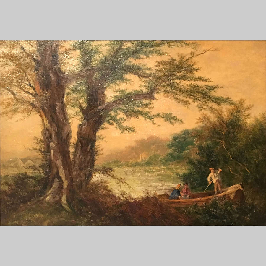 French 19th century  oil painting landscape, Barbizon School