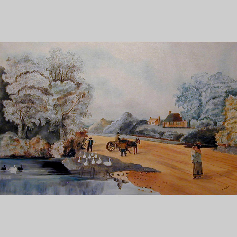 Irish primitive oil on canvas landscape