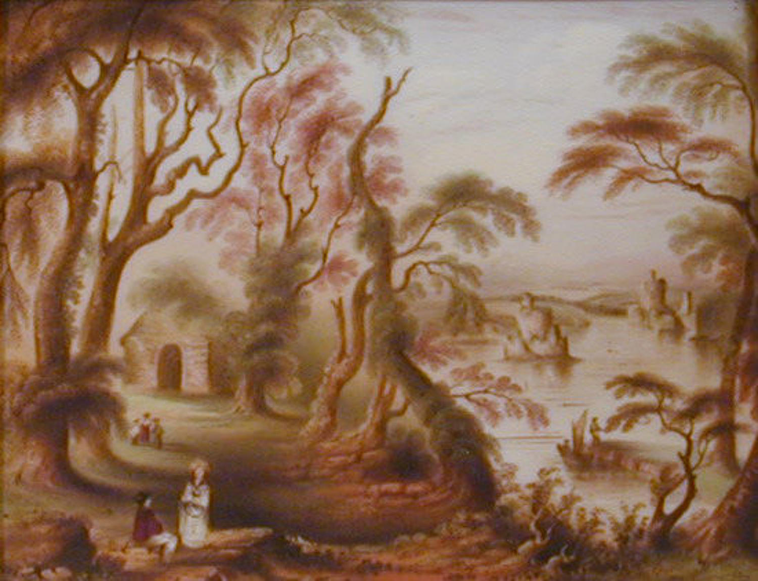 19th century landscape oil painting on porcelain tablet