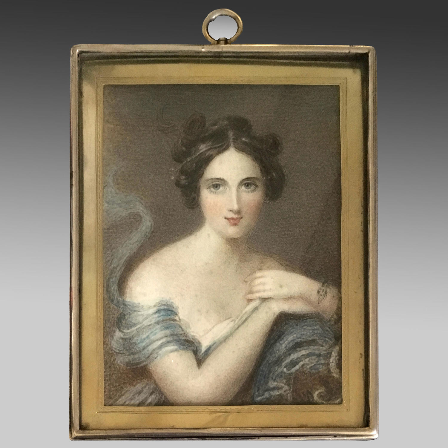 Early 19th century watercolour and gouache miniature by Emma Kendrick
