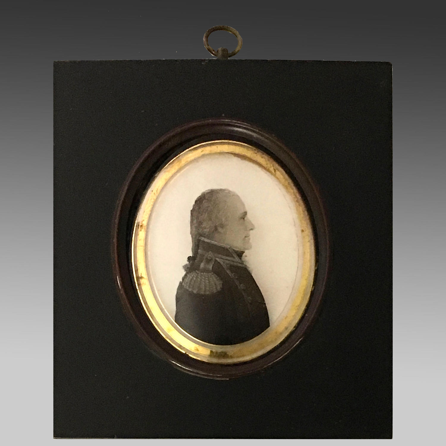 Georgian reverse painting miniature of a naval officer