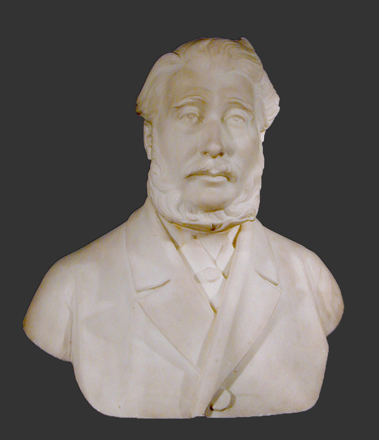 19th century marble portrait bust of a huntsman